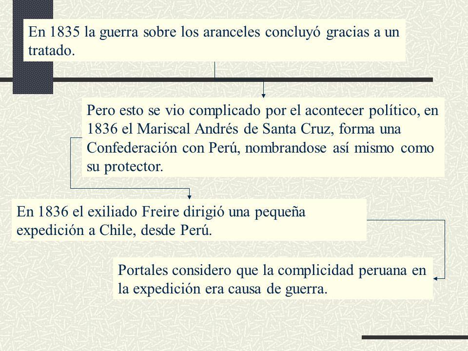 En 1835 la guerra sobre los aranceles concluyó gracias a un tratado. Pero esto se vio complicado por el acontecer político, en 1836 el Mariscal Andrés