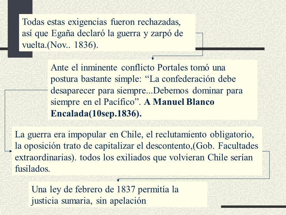 Todas estas exigencias fueron rechazadas, así que Egaña declaró la guerra y zarpó de vuelta.(Nov.. 1836). Ante el inminente conflicto Portales tomó un