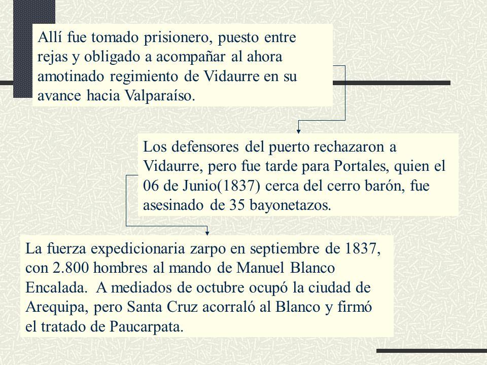 Allí fue tomado prisionero, puesto entre rejas y obligado a acompañar al ahora amotinado regimiento de Vidaurre en su avance hacia Valparaíso. Los def