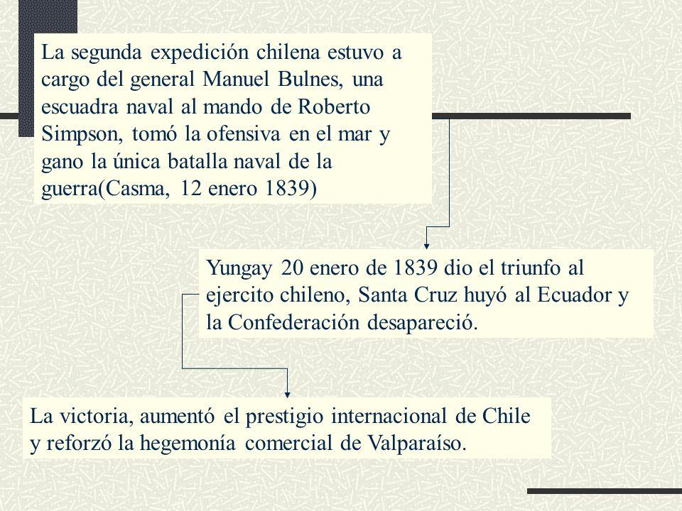 La segunda expedición chilena estuvo a cargo del general Manuel Bulnes, una escuadra naval al mando de Roberto Simpson, tomó la ofensiva en el mar y g