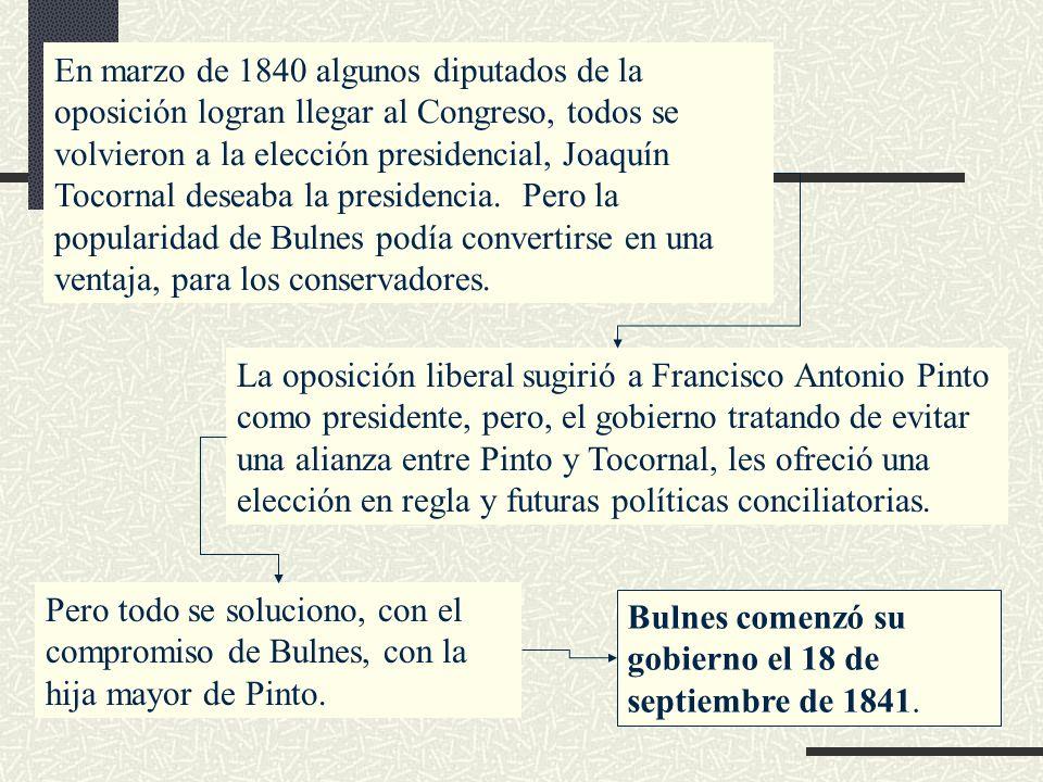 En marzo de 1840 algunos diputados de la oposición logran llegar al Congreso, todos se volvieron a la elección presidencial, Joaquín Tocornal deseaba