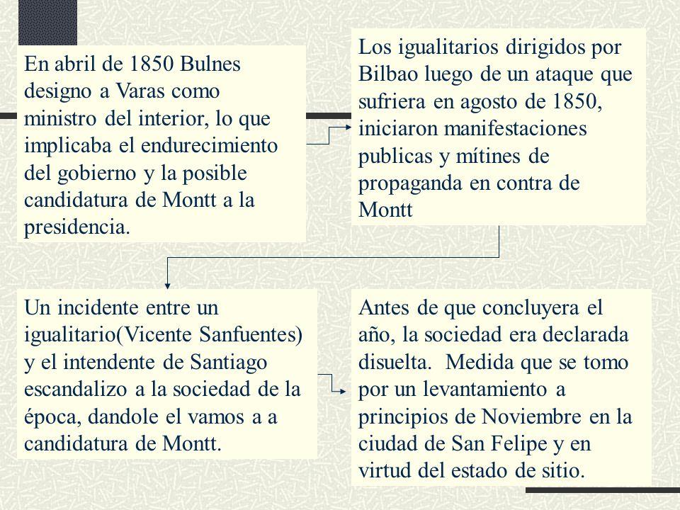 Los igualitarios dirigidos por Bilbao luego de un ataque que sufriera en agosto de 1850, iniciaron manifestaciones publicas y mítines de propaganda en
