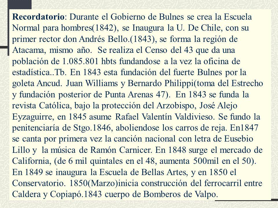 Recordatorio: Durante el Gobierno de Bulnes se crea la Escuela Normal para hombres(1842), se Inaugura la U. De Chile, con su primer rector don Andrés