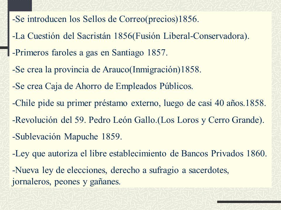 -Se introducen los Sellos de Correo(precios)1856. -La Cuestión del Sacristán 1856(Fusión Liberal-Conservadora). -Primeros faroles a gas en Santiago 18