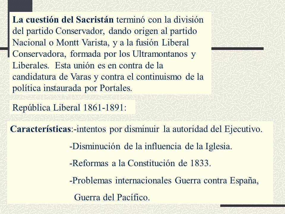 La cuestión del Sacristán terminó con la división del partido Conservador, dando origen al partido Nacional o Montt Varista, y a la fusión Liberal Con