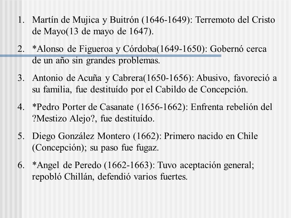 1.Martín de Mujica y Buitrón (1646-1649): Terremoto del Cristo de Mayo(13 de mayo de 1647).