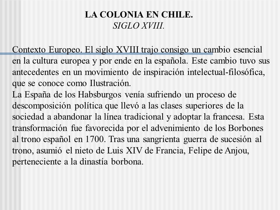 LA COLONIA EN CHILE.SIGLO XVIII. Contexto Europeo.