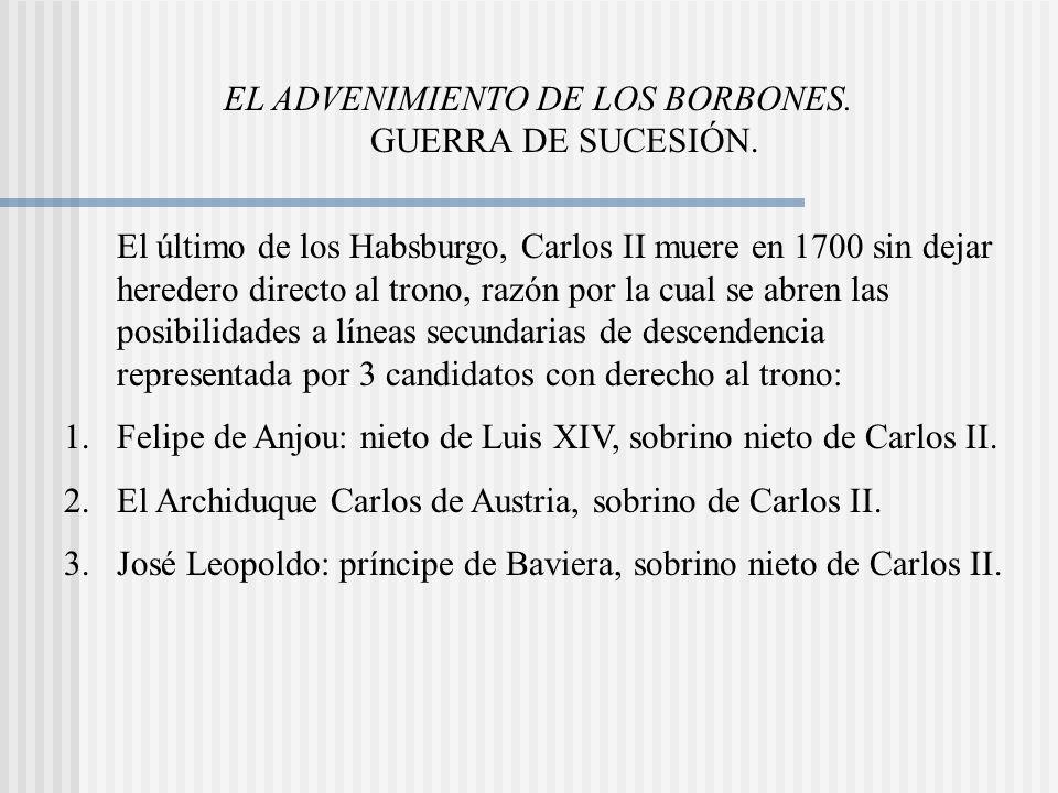 EL ADVENIMIENTO DE LOS BORBONES.GUERRA DE SUCESIÓN.