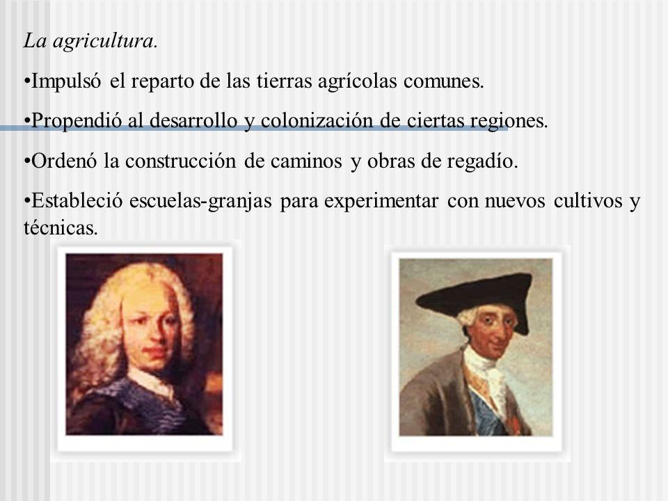 La agricultura.Impulsó el reparto de las tierras agrícolas comunes.