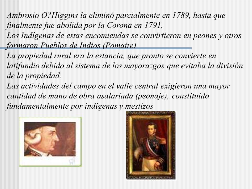 Ambrosio O?Higgins la eliminó parcialmente en 1789, hasta que finalmente fue abolida por la Corona en 1791.