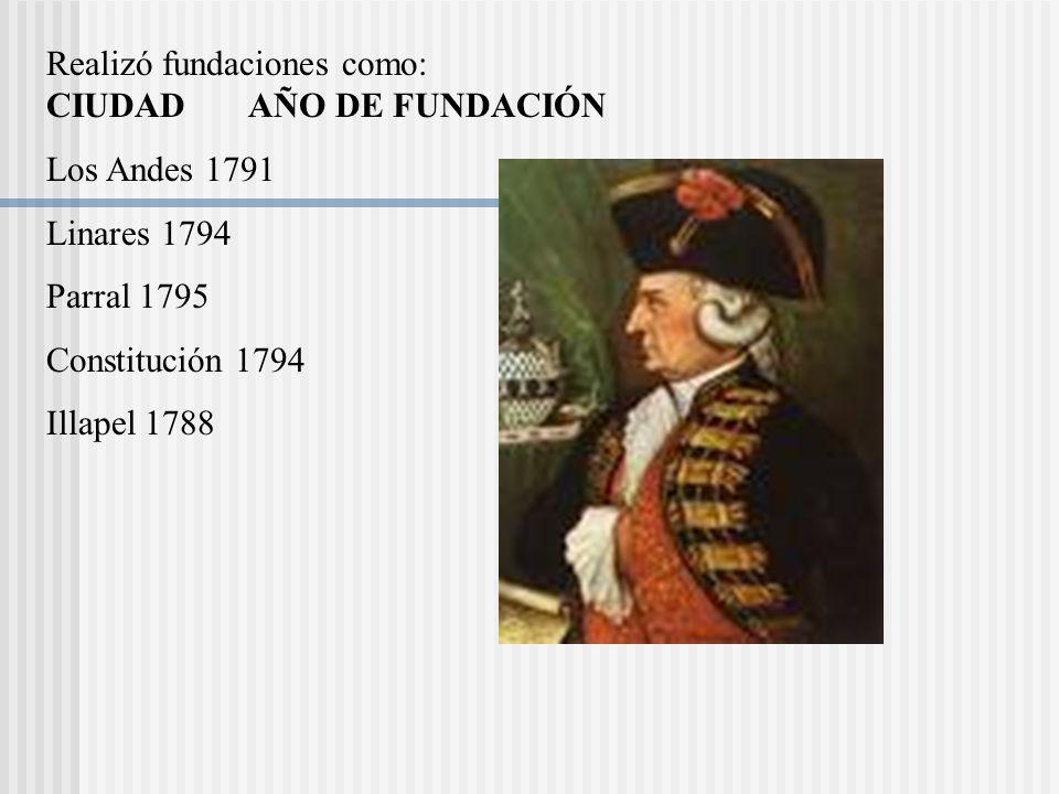 Realizó fundaciones como: CIUDAD AÑO DE FUNDACIÓN Los Andes 1791 Linares 1794 Parral 1795 Constitución 1794 Illapel 1788