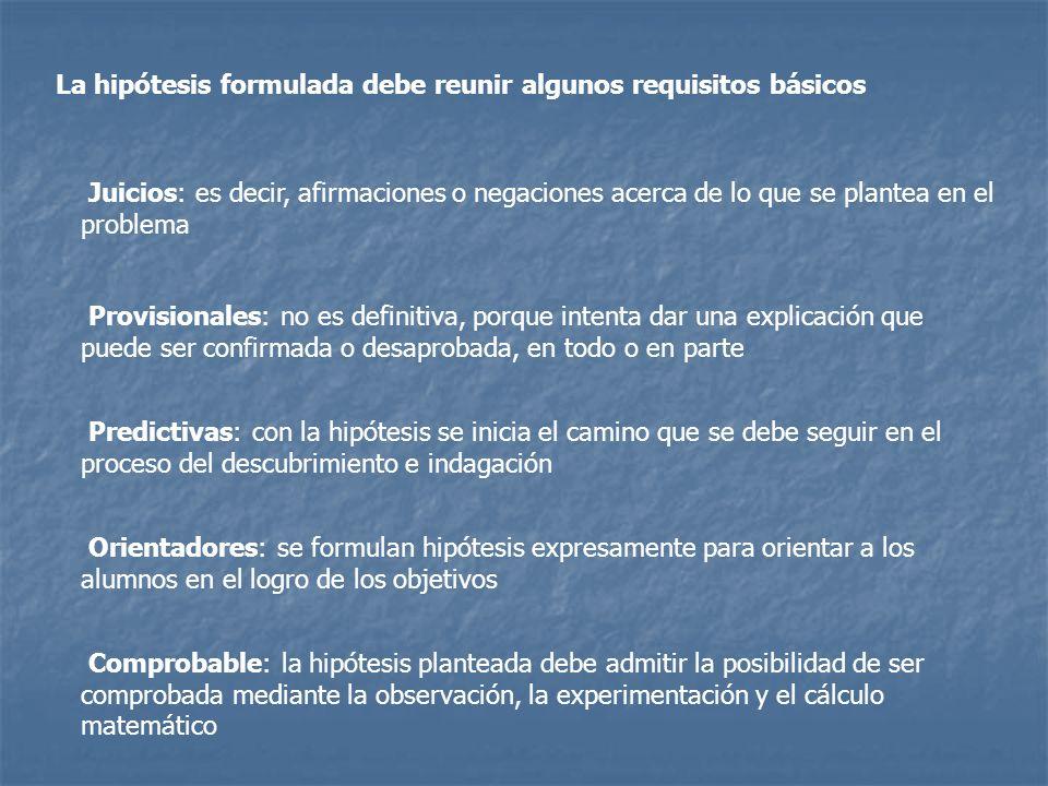La hipótesis formulada debe reunir algunos requisitos básicos Juicios: es decir, afirmaciones o negaciones acerca de lo que se plantea en el problema