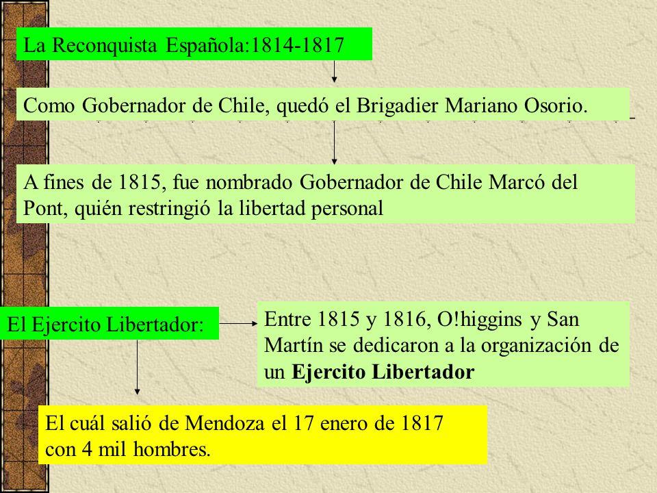 La Reconquista Española:1814-1817 Como Gobernador de Chile, quedó el Brigadier Mariano Osorio. A fines de 1815, fue nombrado Gobernador de Chile Marcó