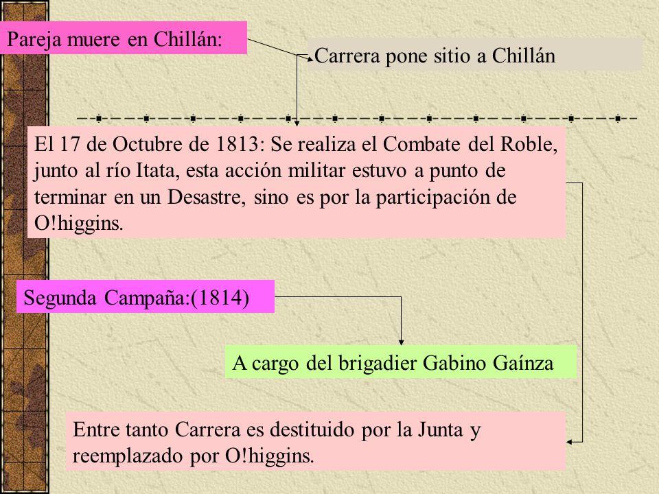 Pareja muere en Chillán: Carrera pone sitio a Chillán El 17 de Octubre de 1813: Se realiza el Combate del Roble, junto al río Itata, esta acción milit