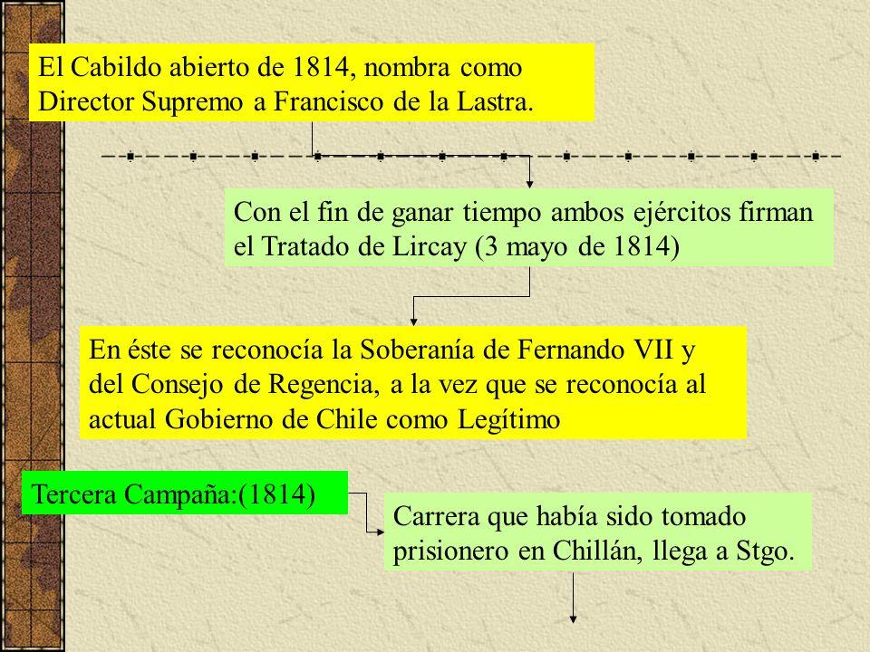 El Cabildo abierto de 1814, nombra como Director Supremo a Francisco de la Lastra. Con el fin de ganar tiempo ambos ejércitos firman el Tratado de Lir