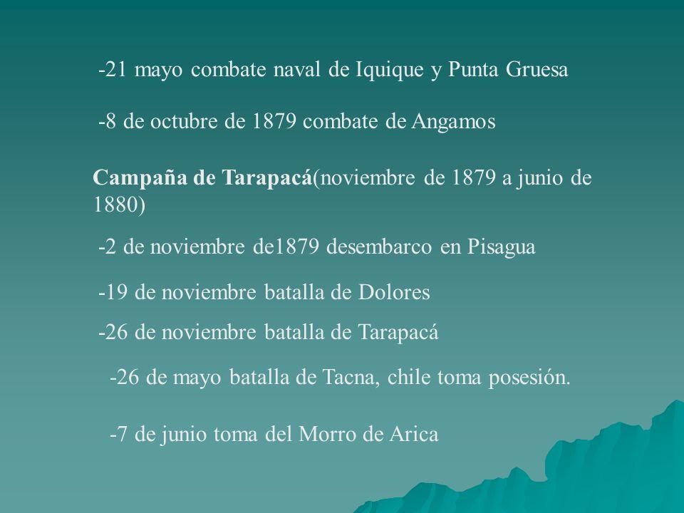 -21 mayo combate naval de Iquique y Punta Gruesa -8 de octubre de 1879 combate de Angamos Campaña de Tarapacá(noviembre de 1879 a junio de 1880) -2 de