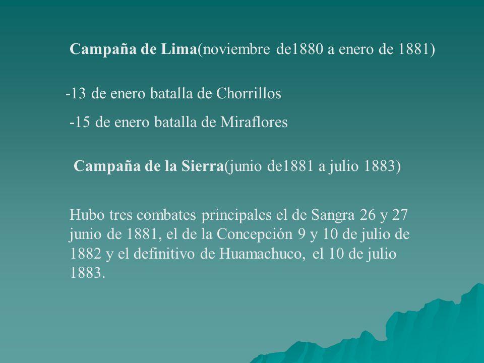 Campaña de Lima(noviembre de1880 a enero de 1881) -13 de enero batalla de Chorrillos -15 de enero batalla de Miraflores Campaña de la Sierra(junio de1