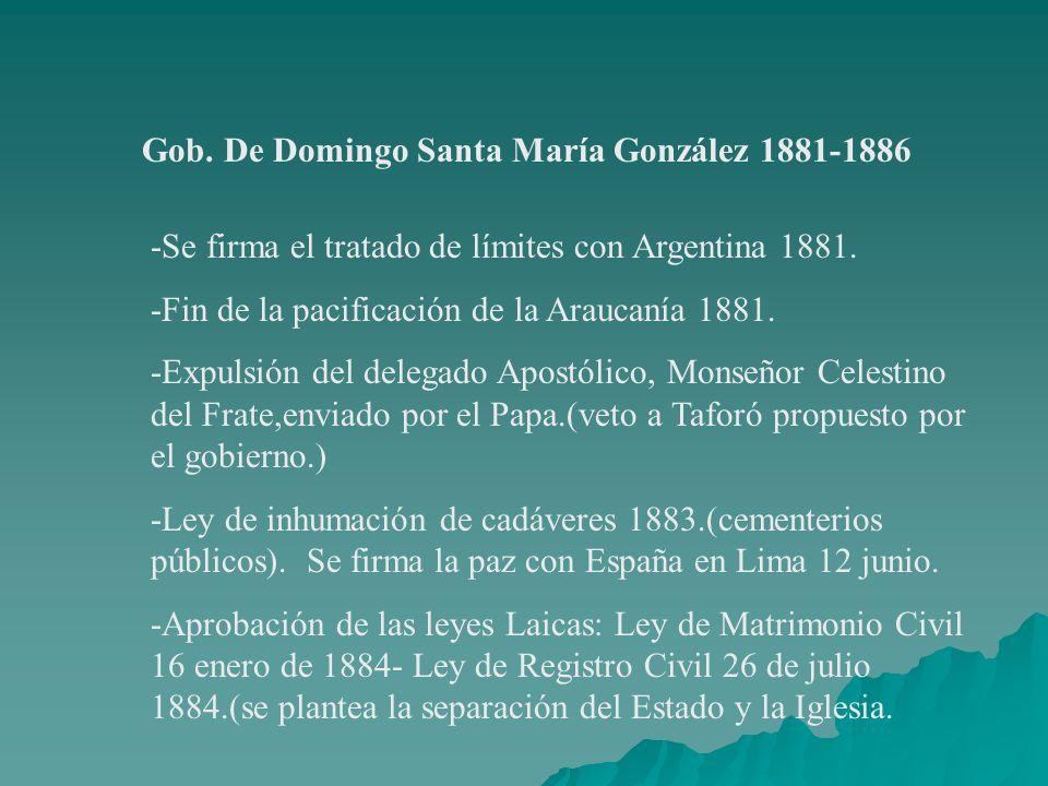 Gob. De Domingo Santa María González 1881-1886 -Se firma el tratado de límites con Argentina 1881. -Fin de la pacificación de la Araucanía 1881. -Expu