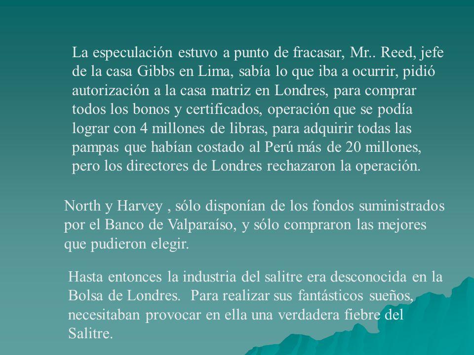 La especulación estuvo a punto de fracasar, Mr.. Reed, jefe de la casa Gibbs en Lima, sabía lo que iba a ocurrir, pidió autorización a la casa matriz