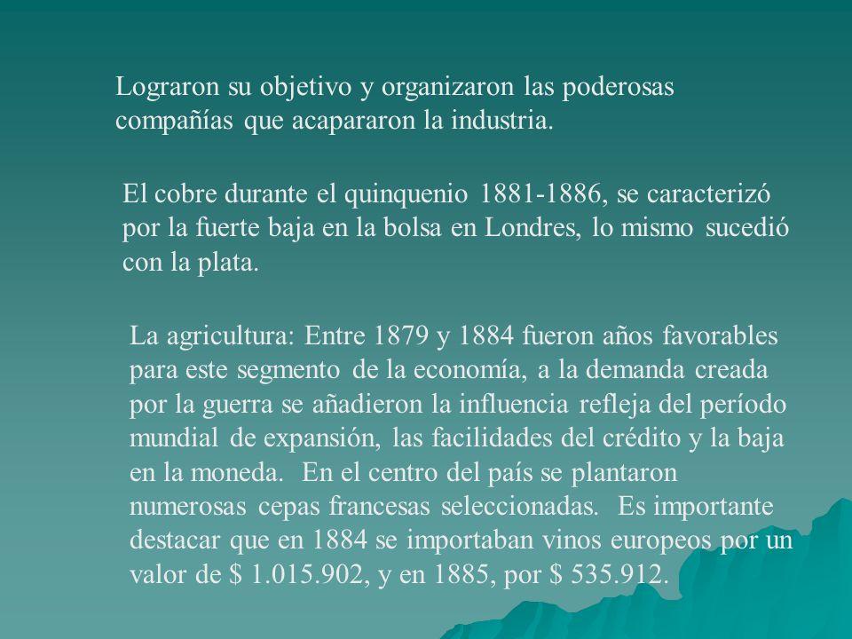 Lograron su objetivo y organizaron las poderosas compañías que acapararon la industria. El cobre durante el quinquenio 1881-1886, se caracterizó por l