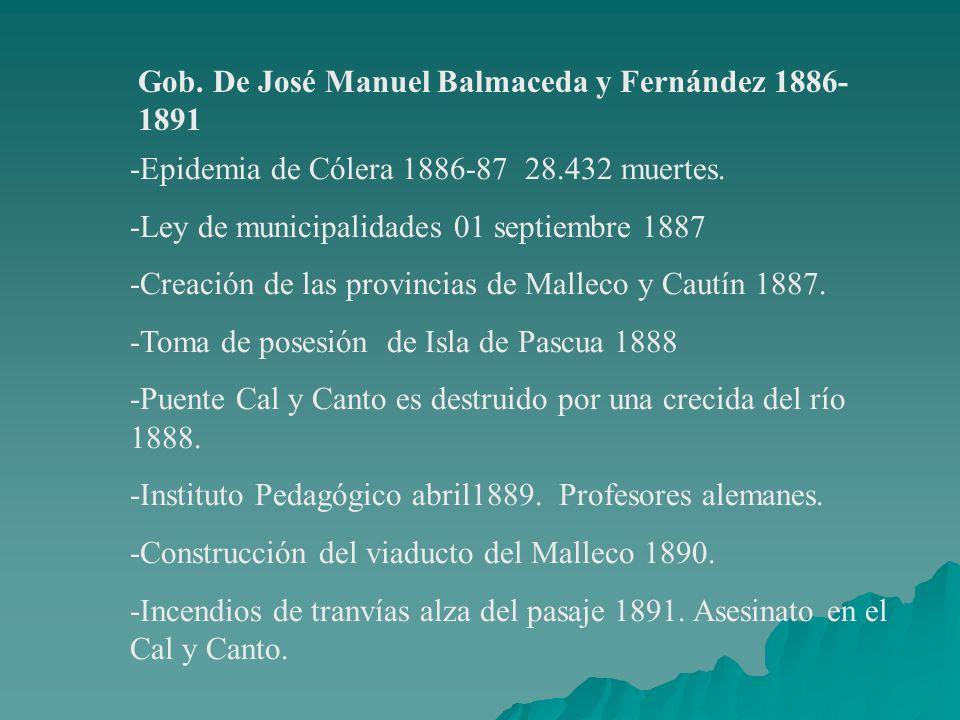 Gob. De José Manuel Balmaceda y Fernández 1886- 1891 -Epidemia de Cólera 1886-87 28.432 muertes. -Ley de municipalidades 01 septiembre 1887 -Creación