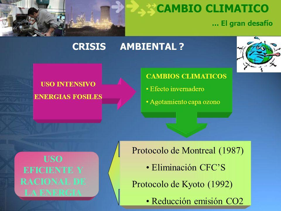 CAMBIO CLIMATICO … El gran desafío CRISIS AMBIENTAL ? USO INTENSIVO ENERGIAS FOSILES CAMBIOS CLIMATICOS Efecto invernadero Agotamiento capa ozono Prot
