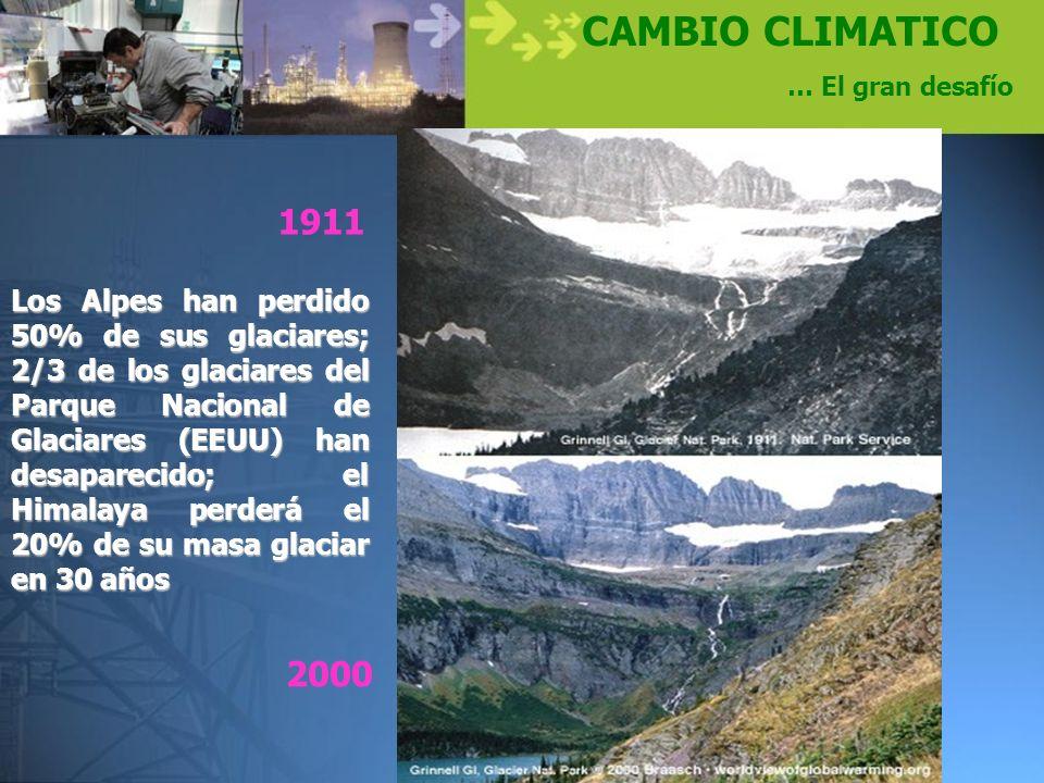 CAMBIO CLIMATICO … El gran desafío Los Alpes han perdido 50% de sus glaciares; 2/3 de los glaciares del Parque Nacional de Glaciares (EEUU) han desapa