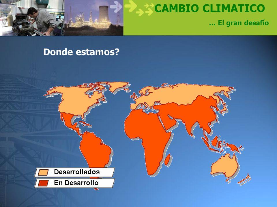 CAMBIO CLIMATICO … El gran desafío Desarrollados En Desarrollo Donde estamos?
