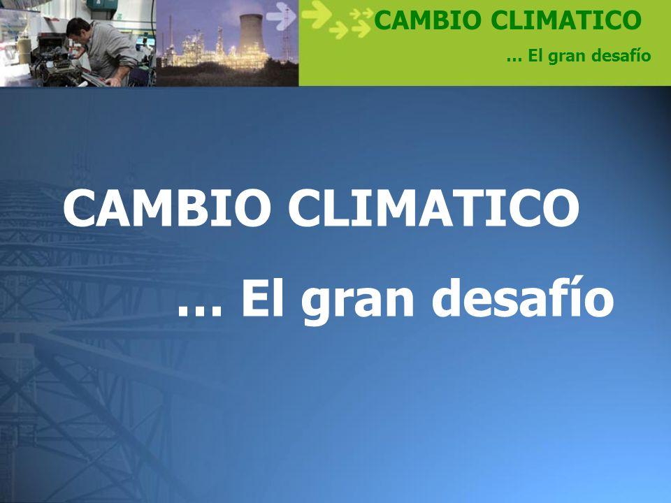 CAMBIO CLIMATICO … El gran desafío Curva de satisfacción social superv i vencia confort lujo derroche suficiente Consumo Satisfacción Domínguez y Robin,(1992)