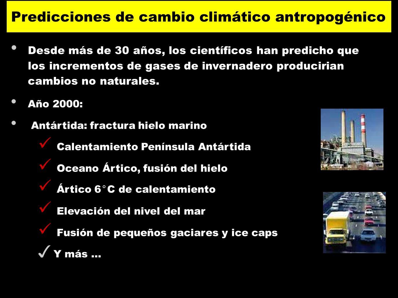 Desde más de 30 años, los científicos han predicho que los incrementos de gases de invernadero producirian cambios no naturales. Año 2000: Antártida: