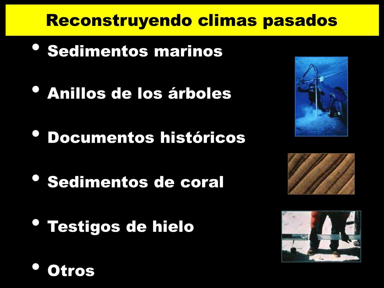 Sedimentos marinos Anillos de los árboles Documentos históricos Sedimentos de coral Testigos de hielo Otros Reconstruyendo climas pasados