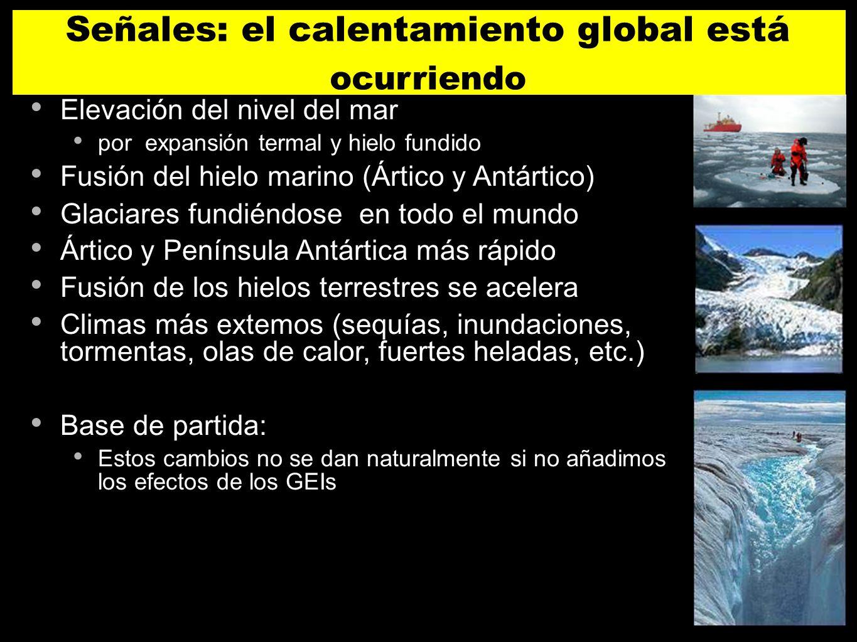 Elevación del nivel del mar por expansión termal y hielo fundido Fusión del hielo marino (Ártico y Antártico) Glaciares fundiéndose en todo el mundo Á