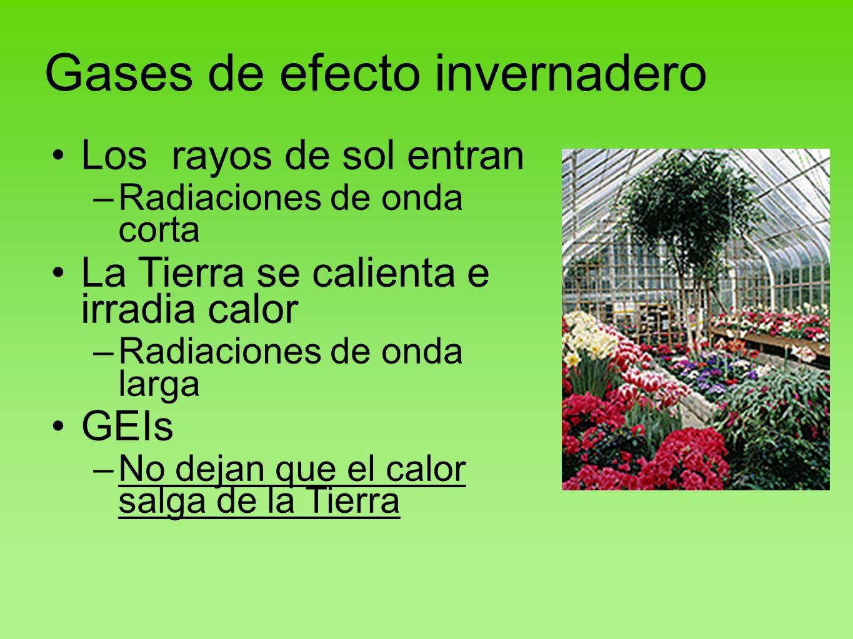 Gases de efecto invernadero Los rayos de sol entran –Radiaciones de onda corta La Tierra se calienta e irradia calor –Radiaciones de onda larga GEIs –