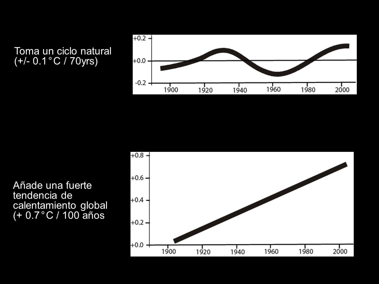 Toma un ciclo natural (+/- 0.1°C / 70yrs): Añade una fuerte tendencia de calentamiento global (+ 0.7°C / 100 años): +