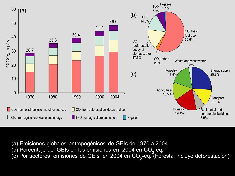 (a) Emisiones globales antropogénicos de GEIs de 1970 a 2004. (b) Porcentaje de GEIs en las emisiones en 2004 en CO 2 -eq. (c) Por sectores emisiones
