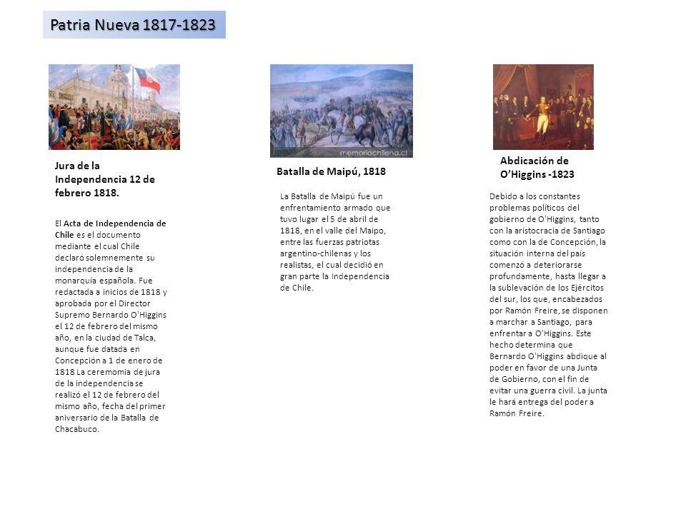 Jura de la Independencia 12 de febrero 1818. Patria Nueva 1817-1823 Abdicación de OHiggins -1823 Batalla de Maipú, 1818 El Acta de Independencia de Ch