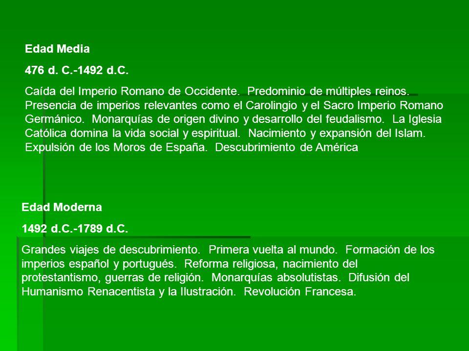 Edad Media 476 d. C.-1492 d.C. Caída del Imperio Romano de Occidente. Predominio de múltiples reinos. Presencia de imperios relevantes como el Carolin