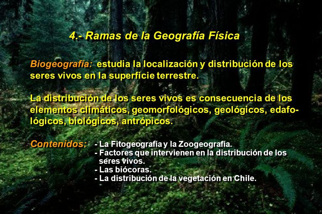 4.- Ramas de la Geografía Física Biogeografía: estudia la localización y distribución de los seres vivos en la superficie terrestre. La distribución d