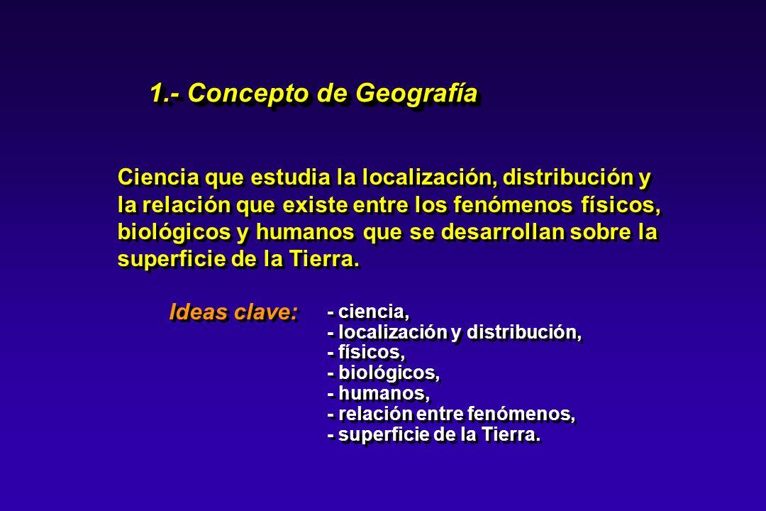 Ciencia que estudia la localización, distribución y la relación que existe entre los fenómenos físicos, biológicos y humanos que se desarrollan sobre
