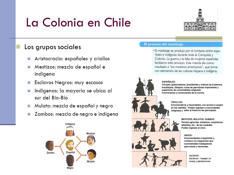 La Colonia en Chile Los grupos sociales Aristocracia: españoles y criollos Mestizos: mezcla de español e indígena Esclavos Negros: muy escasos Indigen