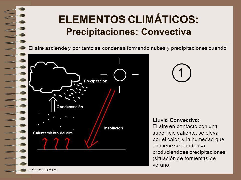 ELEMENTOS CLIMÁTICOS: Precipitaciones: Convectiva El aire asciende y por tanto se condensa formando nubes y precipitaciones cuando Lluvia Convectiva: El aire en contacto con una superficie caliente, se eleva por el calor, y la humedad que contiene se condensa produciéndose precipitaciones (situación de tormentas de verano.