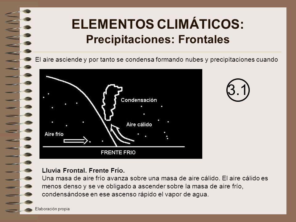 ELEMENTOS CLIMÁTICOS: Precipitaciones: Frontales El aire asciende y por tanto se condensa formando nubes y precipitaciones cuando 3.1 Lluvia Frontal.