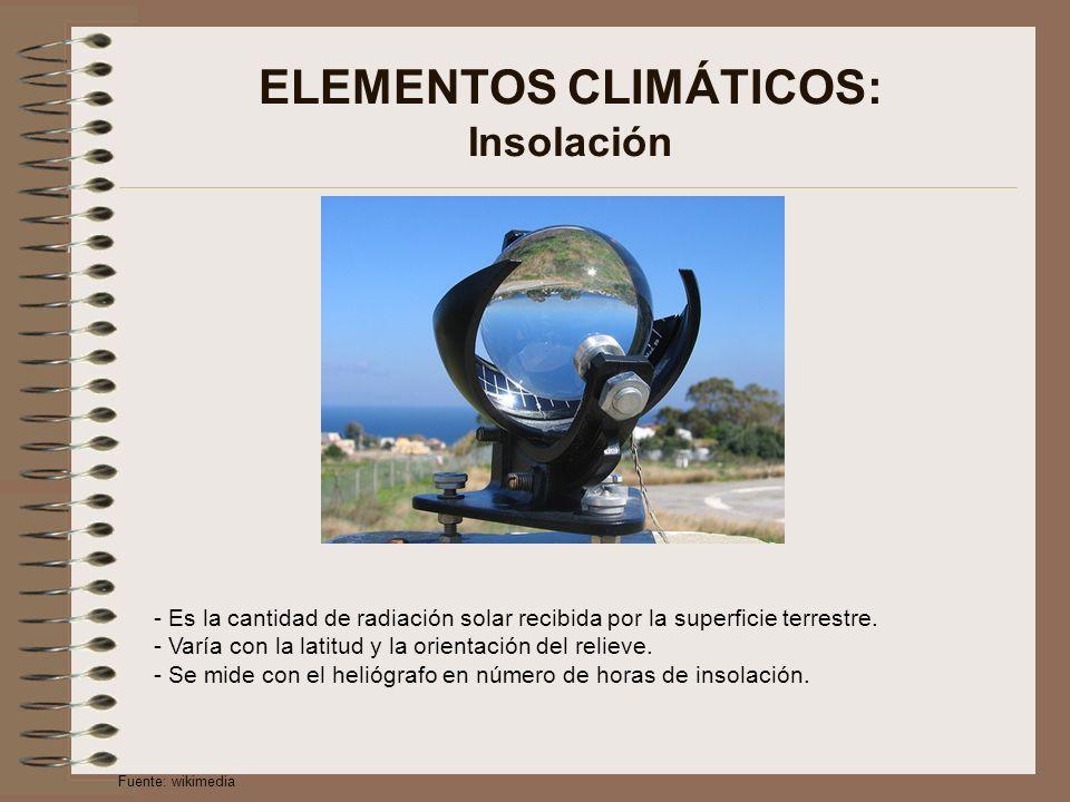 ELEMENTOS CLIMÁTICOS: Insolación - Es la cantidad de radiación solar recibida por la superficie terrestre. - Varía con la latitud y la orientación del