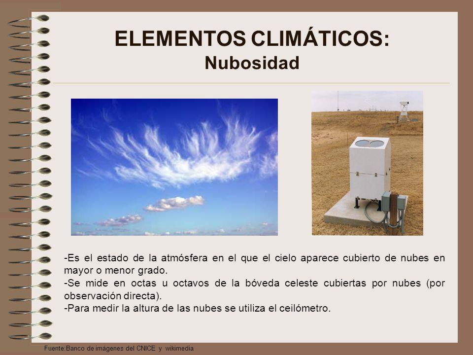 ELEMENTOS CLIMÁTICOS: Nubosidad -Es el estado de la atmósfera en el que el cielo aparece cubierto de nubes en mayor o menor grado.