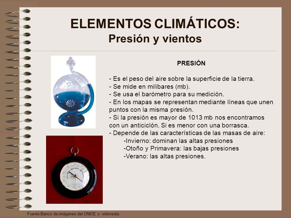 ELEMENTOS CLIMÁTICOS: Presión y vientos PRESIÓN - Es el peso del aire sobre la superficie de la tierra.