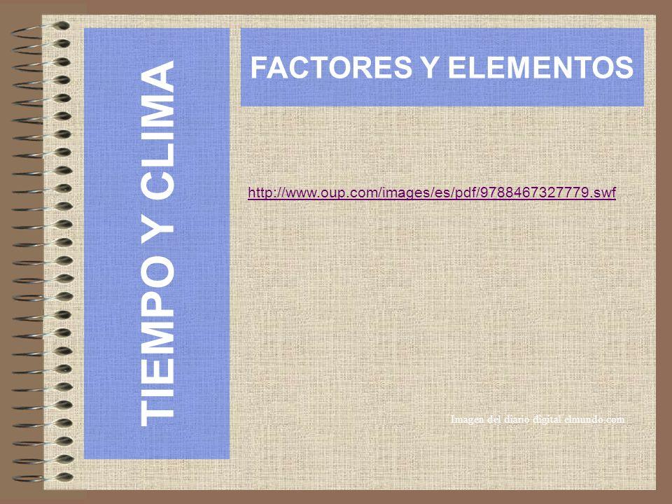 TIEMPO Y CLIMA FACTORES Y ELEMENTOS Imagen del diario digital elmundo.com http://www.oup.com/images/es/pdf/9788467327779.swf