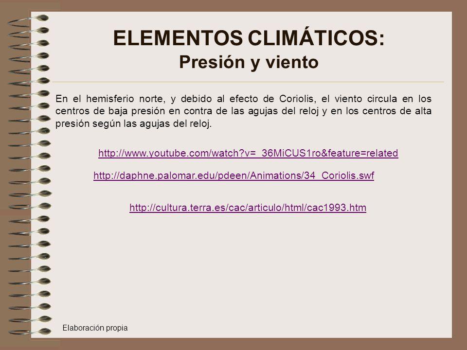 ELEMENTOS CLIMÁTICOS: Presión y viento En el hemisferio norte, y debido al efecto de Coriolis, el viento circula en los centros de baja presión en con