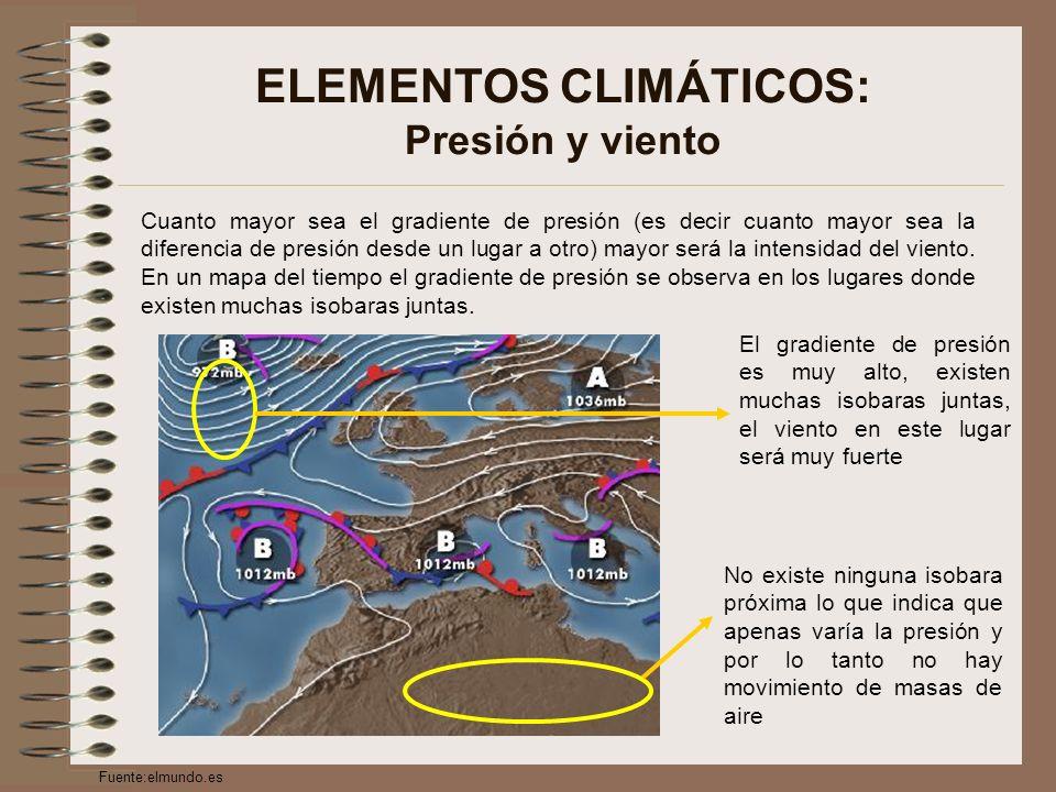 ELEMENTOS CLIMÁTICOS: Presión y viento Cuanto mayor sea el gradiente de presión (es decir cuanto mayor sea la diferencia de presión desde un lugar a otro) mayor será la intensidad del viento.