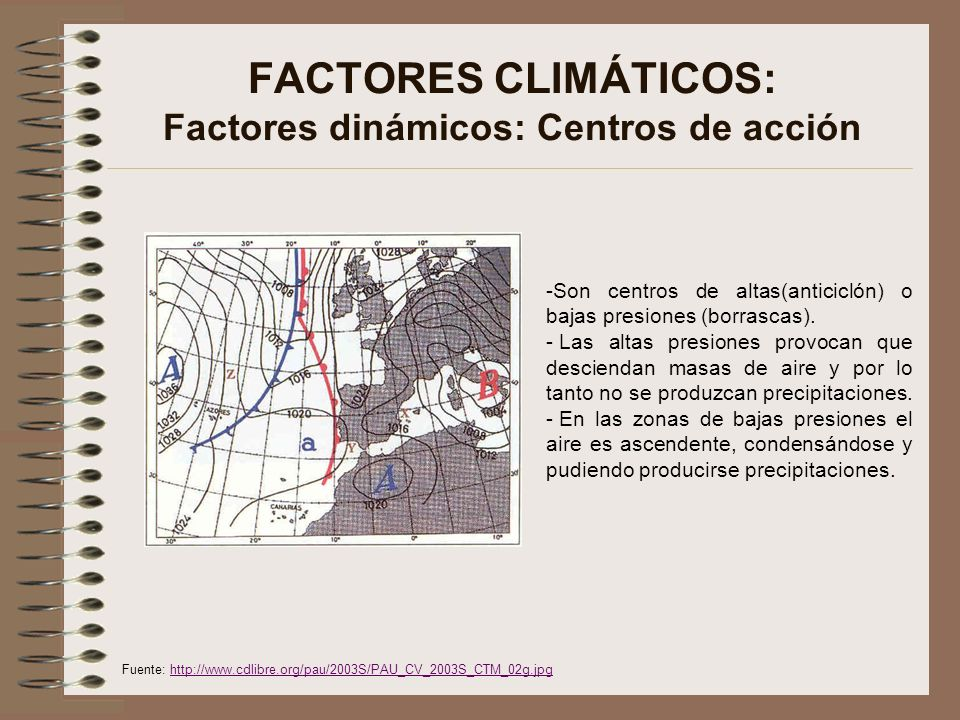 FACTORES CLIMÁTICOS: Factores dinámicos: Centros de acción -Son centros de altas(anticiclón) o bajas presiones (borrascas). - Las altas presiones prov