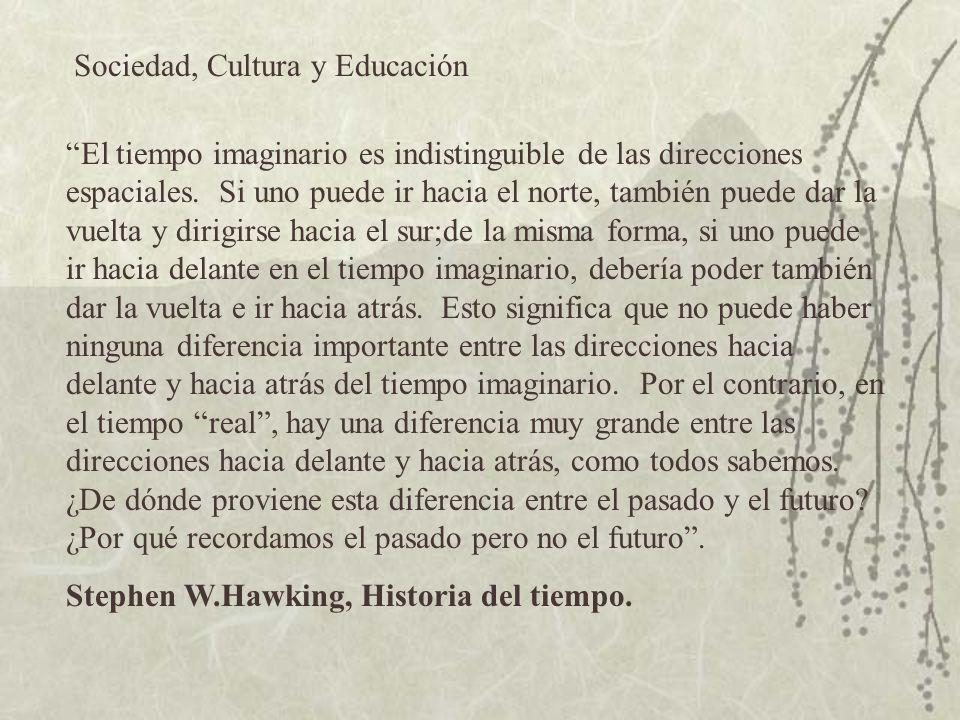 Sociedad, Cultura y Educación El tiempo imaginario es indistinguible de las direcciones espaciales.